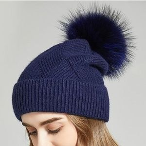 Accessories - Anika Wool Cross Knit Hat Fur Pom - Tibetan Blue
